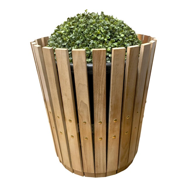Customizable Plantum Bleached American Hardwood Modular Planter Cover with Brass Rivets - Image 1 of 4