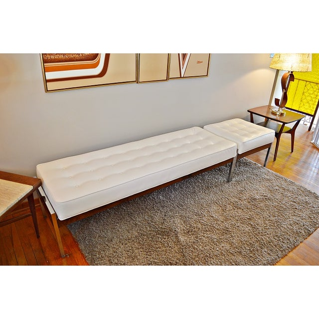 1970s Milo Baughman Style Tufted Chrome Bench - Image 5 of 7