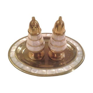 Brass Mother of Pearl Fanciful Shaker - Set of 3