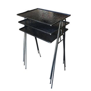 Frederic Weinberg Style Stackable Side Tables with Iron Hairpin Legs