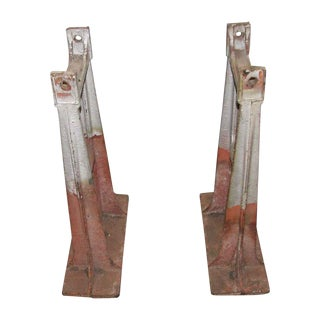 Red & Gray Industrial Metal Legs - A Pair