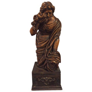 Palatial 18th Century Carved Statue of a Kneeling Woman in Tears