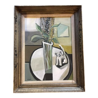 Vintage Stewart Ross Still-Life With Cat Painting