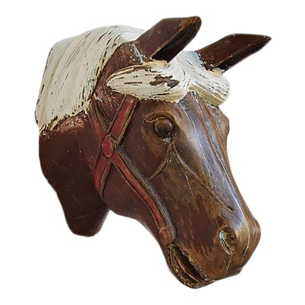1940s Hand-Carved Carousel Horse Head - Wall Mounted - Image 1 of 11