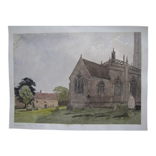 Antique English Watercolor Painting of a Cathedral and Grave Yard
