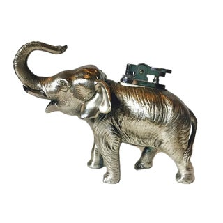 Mid Century Table Top Elephant Lighter Old Hollywood Glamour
