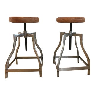 Industrial Leather Adjustable Counter or Bar Stools - A Pair