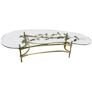 French Modern Cocktail Table With Gilt Enamel Leaf Pattern