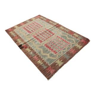 "Vintage Turkish Tribal Oushak Handmade Flatwoven Kilim Rug - 2'9"" X 4'"