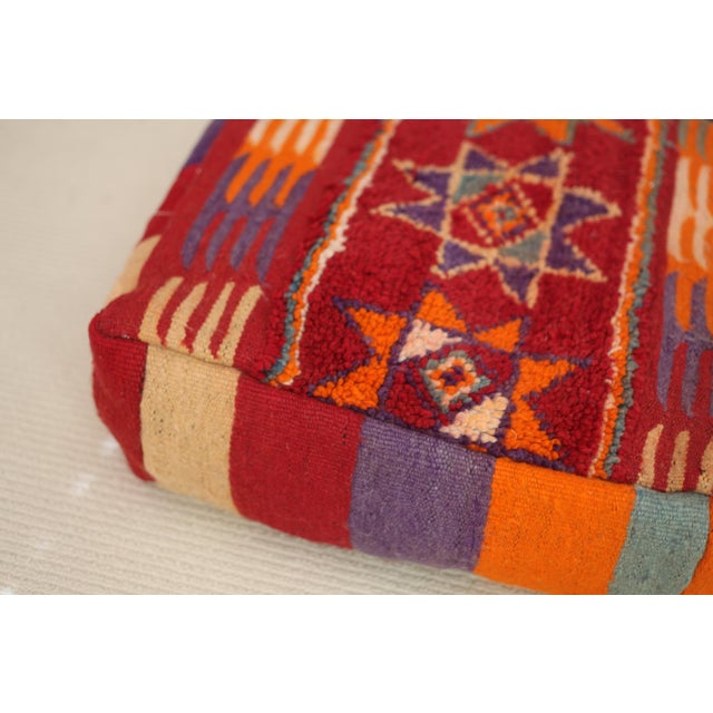 Vintage Moroccan Tribal Floor Pillow - Image 3 of 4