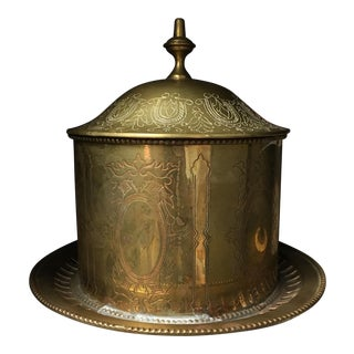 Vintage Brass Canister on Round Plate