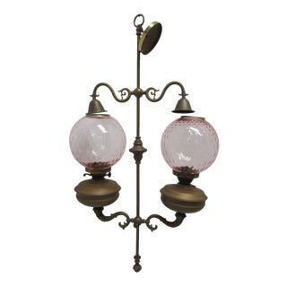 Antique Double Burner Oil Lamp Chandelier, England