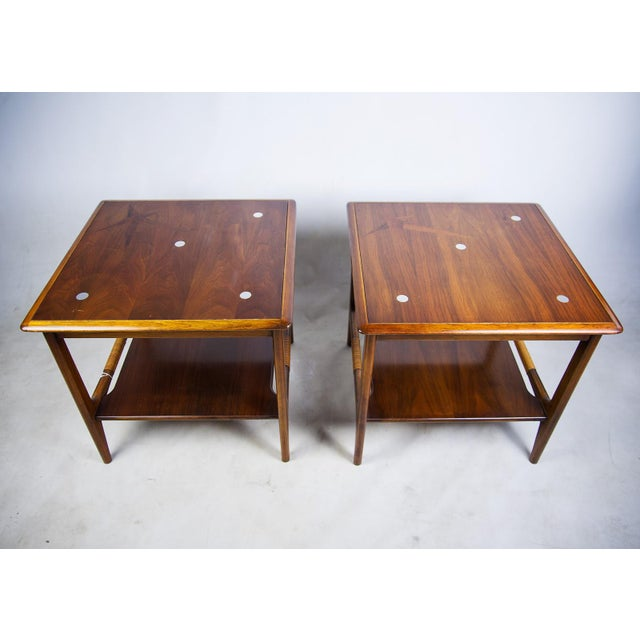 Image of Constellation Walnut & Metal Tables - A Pair