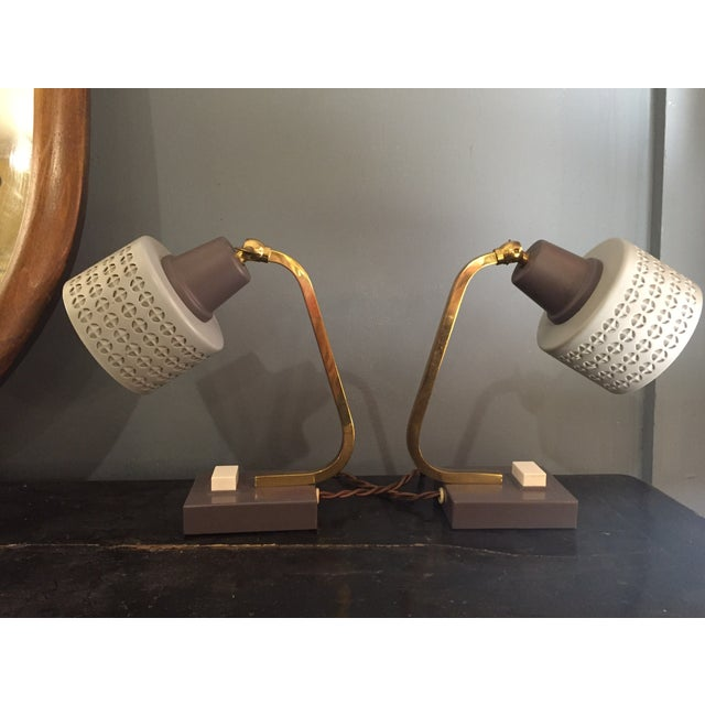 Mid-Century Bedside Table Lamps - A Pair - Image 2 of 7