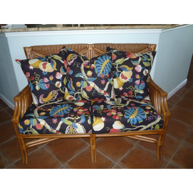 Tommy Bahama Style Bentwood Rattan Settee - Image 8 of 9