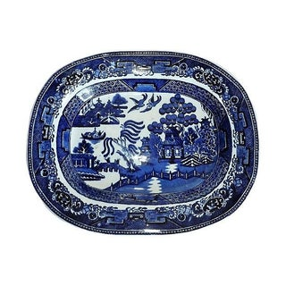 19th-Century Flow Blue Porcelain Platter