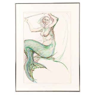 Ben Smith Figural Mermaid Mixed Media on Paper Painting