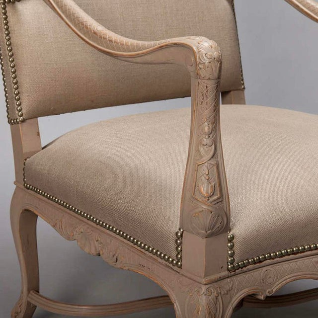 Tall French Arm Chair with Carved Painted Frame - Image 7 of 7