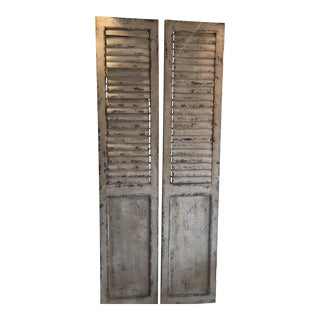Vintage Distressed White White Shutters - A Pair