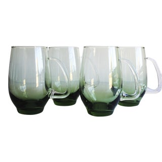 Green Glass Mugs - Set of 4