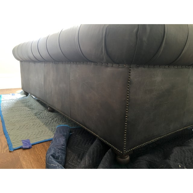 Restoration Hardware Leather : Restoration hardware kensington black leather sofa chairish