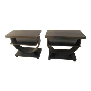 Brown Saltman Art Deco Circular Side Tables - A Pair