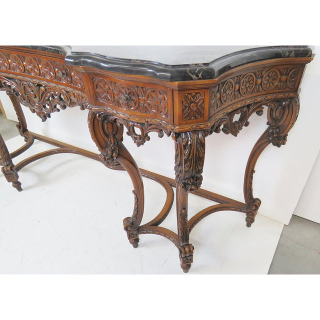 Image of Marbletop Carved Mahogany Console