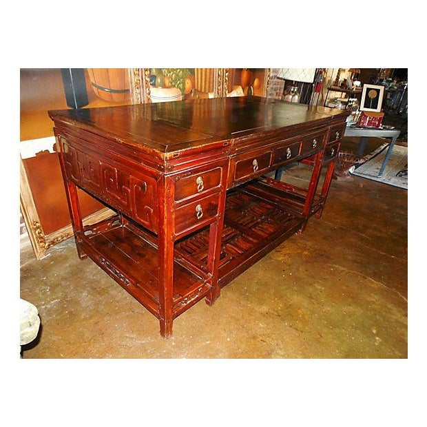 Rare Chinese Rosewood Partner's Desk, C. 1920 - Image 4 of 9