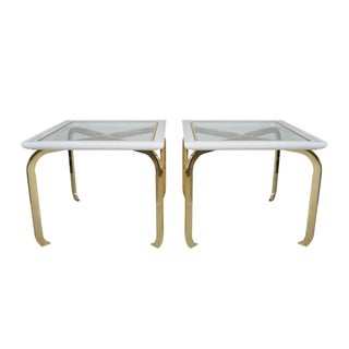 Mid-Century Glass & Brass Side Tables - A Pair