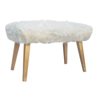 Mid-Century White Faux Fur Bench