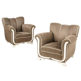 Pair of Art Deco Upholstered French Armchairs, 1940s