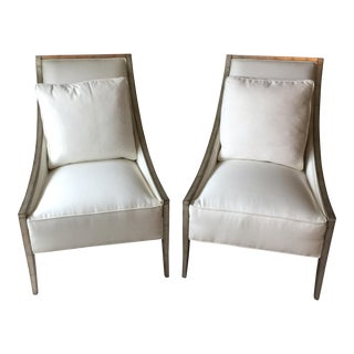 White Cotton Caracole Chairs & Pillows - A Pair
