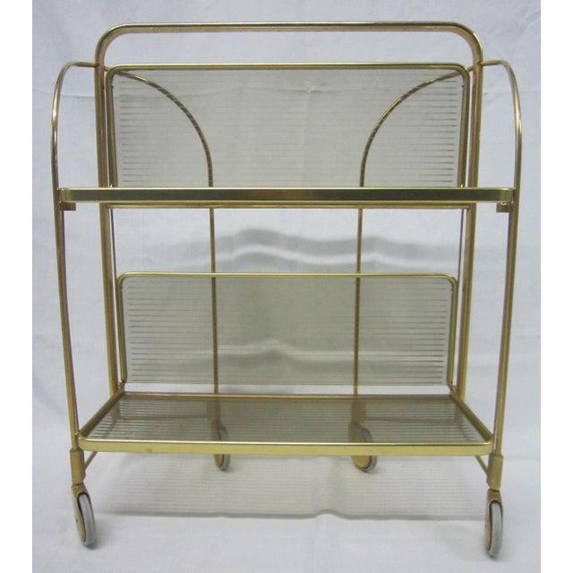 Gold Tone Folding Bar Cart - Image 2 of 5