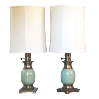 Mid-Century Monumental Hollywood Regency Torchiere Table Lamps - Pair