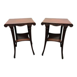 Carved Mahogany 2 Tier Rolled Edge Leather Top End Side Tables - a Pair