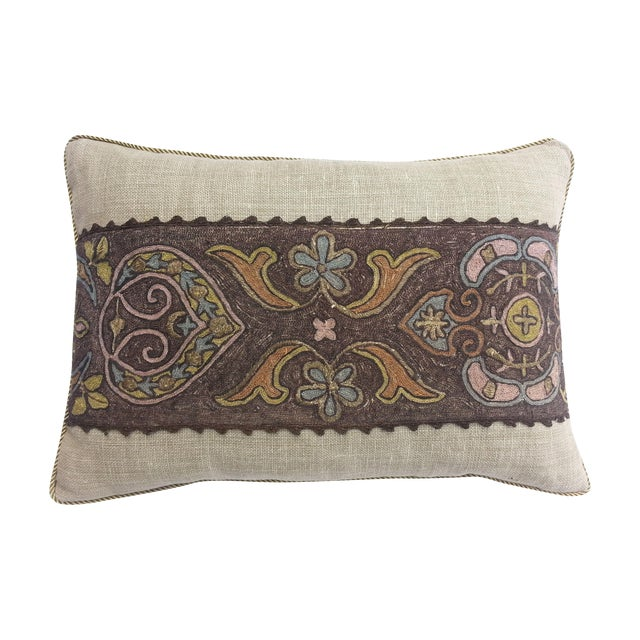 Image of French metallic embroidered pillow