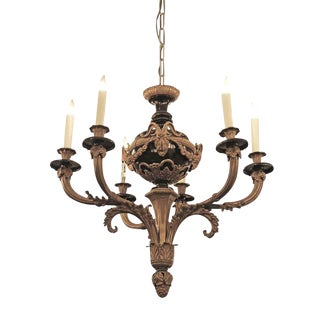 Circa 1900 French Empire Style Ormolu Six Arm Bronze Chandelier