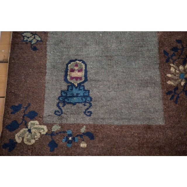 """Antique Art Deco Chinese Rug Mat - 2' X 2'11"""" - Image 6 of 7"""