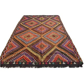 "Vintage Handwoven Turkish Kilim Rug - 6'1"" x 9'1"""