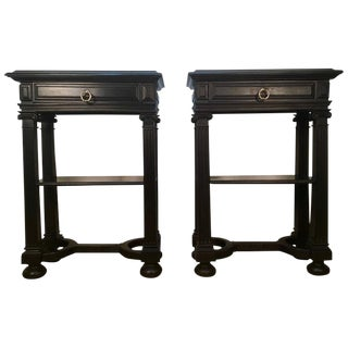 Diminutive Ebonized Baroque Style End Tables - A Pair