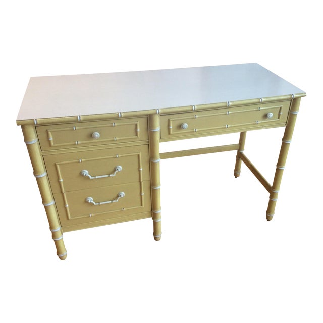 Thomasville Vintage Faux Bamboo Desk - Image 1 of 9