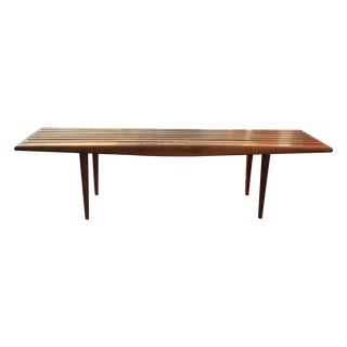 Mid-Century Modern Long Walnut Slat Bench
