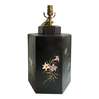 English Export Floral Designed Hexagonal Tea Caddy Lamp