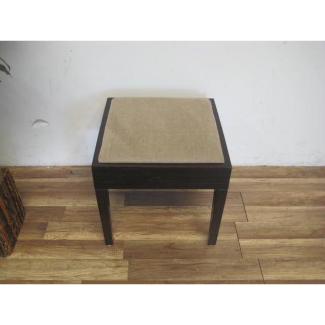 Amtrend Dark Wood Finish/Grey Upholstery Stool - Image 4 of 7