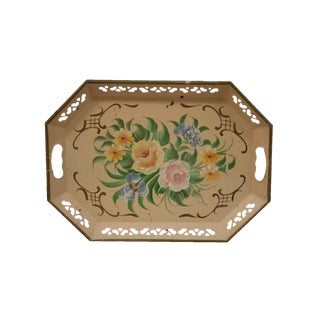 Peach Floral Tole Tray