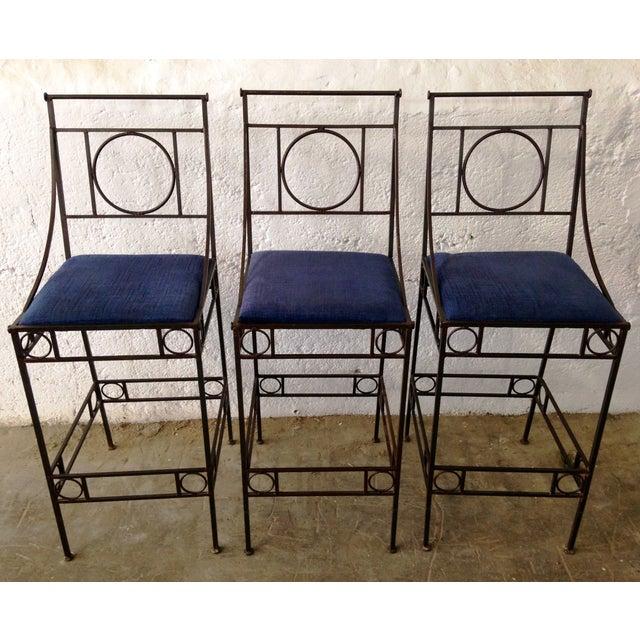 Blue Seat & Wrought Iron Bar Stools - Set of 3 - Image 2 of 6