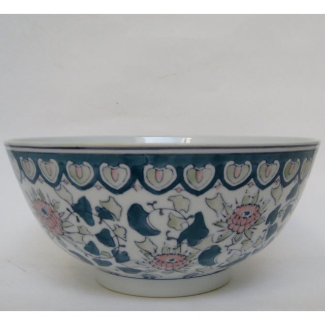Chinese Green & Pink Floral Porcelain Serving Bowl - Image 4 of 7