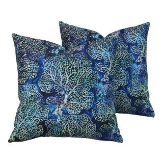 Nautical Beach Sea Fan Coral Linen Feather/Down Pillows - Pair
