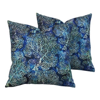 Nautical Beach Sea Fan Coral Linen Feather/Down Pillows - Pair