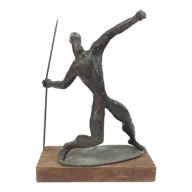 Vintage Twila Albers Bronze Figure Throwing Spear - Image 1 of 8
